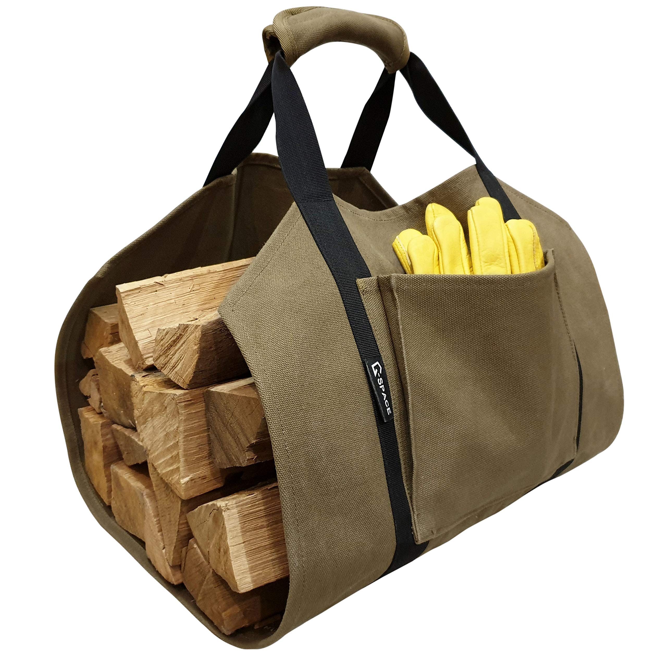 Log Carrier - Canvas firewood Carrier Bag - 20oz Waxed Canvas firewood Tote Bag - Log Bag Carrier (+Gloves) by G-SPACE