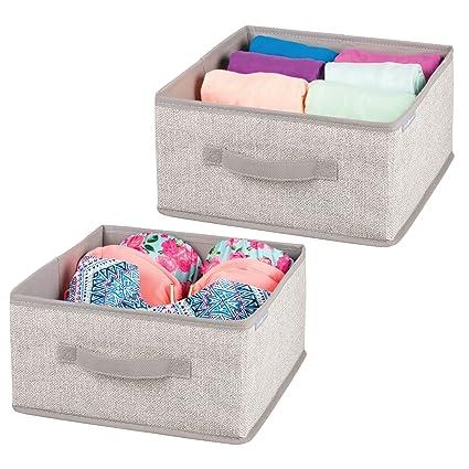 mDesign Juego de 2 cajas organizadoras para ordenar armarios – Organizadores para armarios en polipropileno con