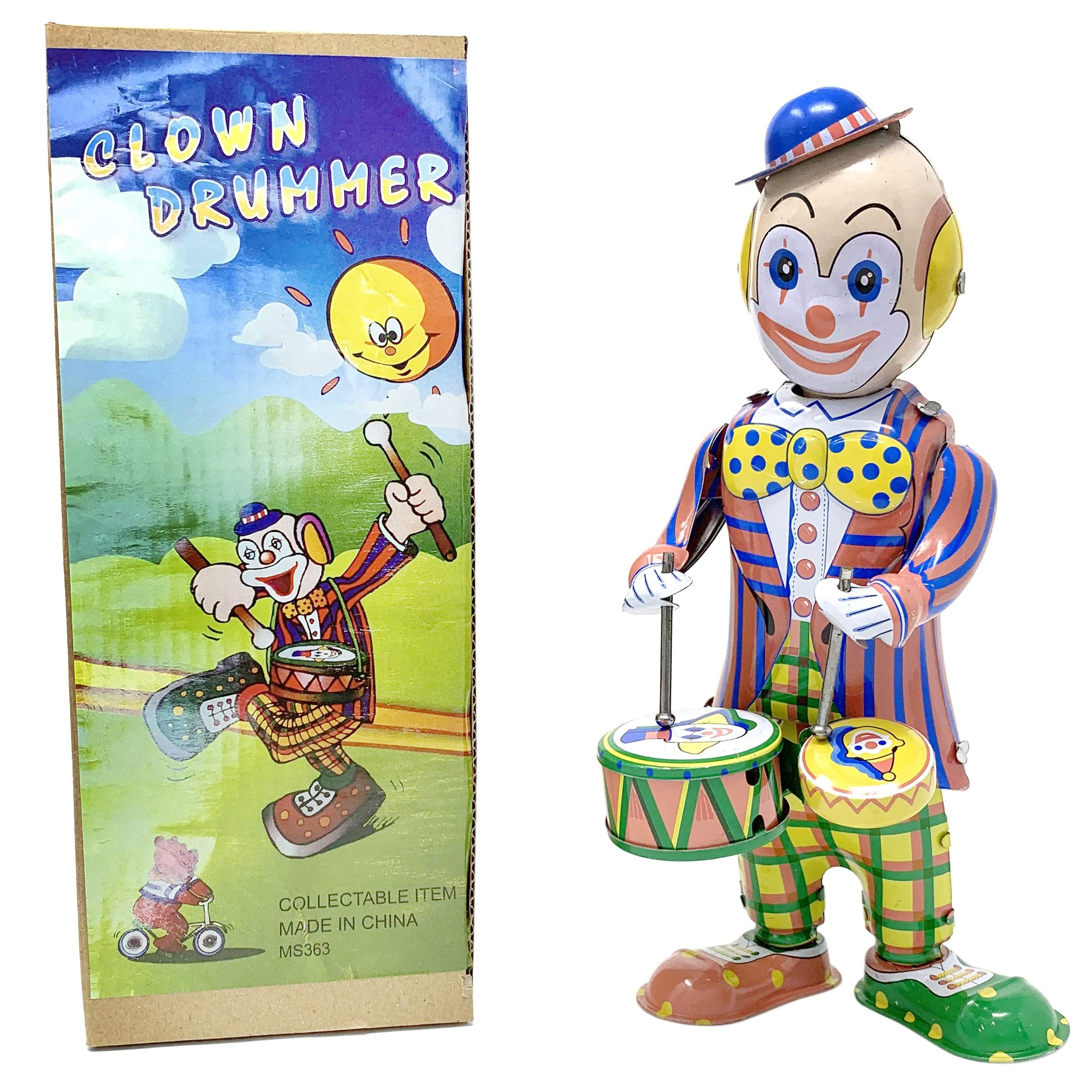 Off the Wall Toys Vintage Windup Tin Toy Drumming Circus Clown Robot