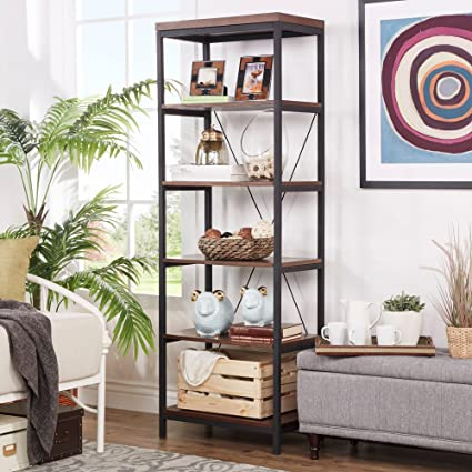 ModHaus Living Industrial Rustic Style Black Metal Frame 6 Tier 26 Inches Horizontal Bookshelf Storage Media