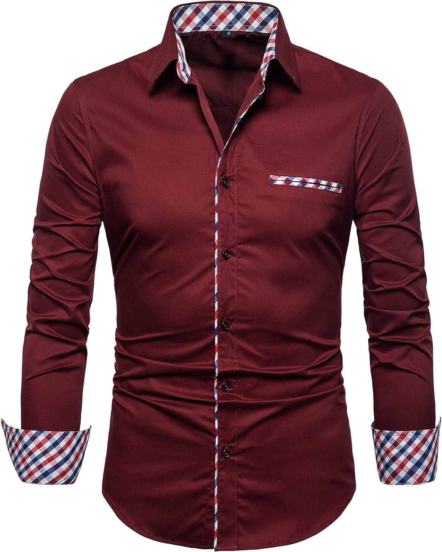 SIR7 Men's Cotton Button Down Casual Long Sleeve Shirts Inner Contrast Plaid Dress Slim Fit Shirt