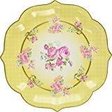 Talking Tables Truly Scrumptious Large Paper Serving Plates for a Tea Party or Birthday, Yellow (4 Pack)