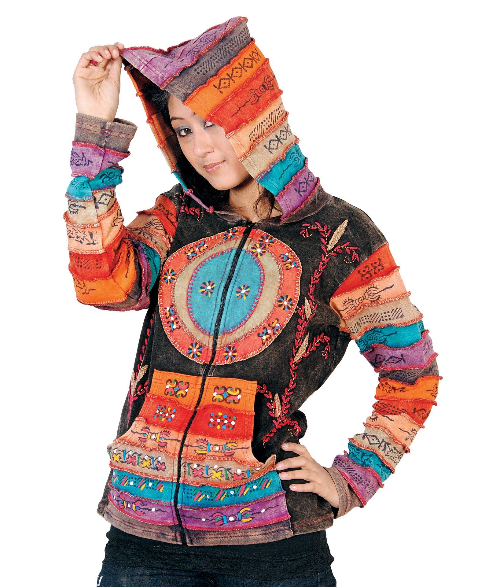 Rising International Inc Women's Stipes and Symbols Cotton Jacket XL