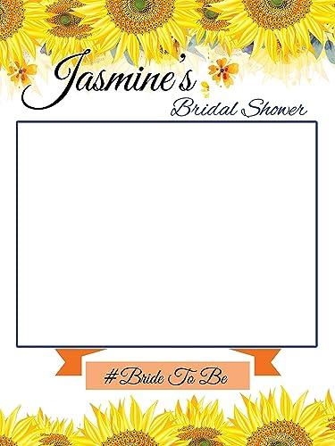 custom sunflower bridal shower photo booth frame sizes 36x24 48x36 sunflower theme wedding