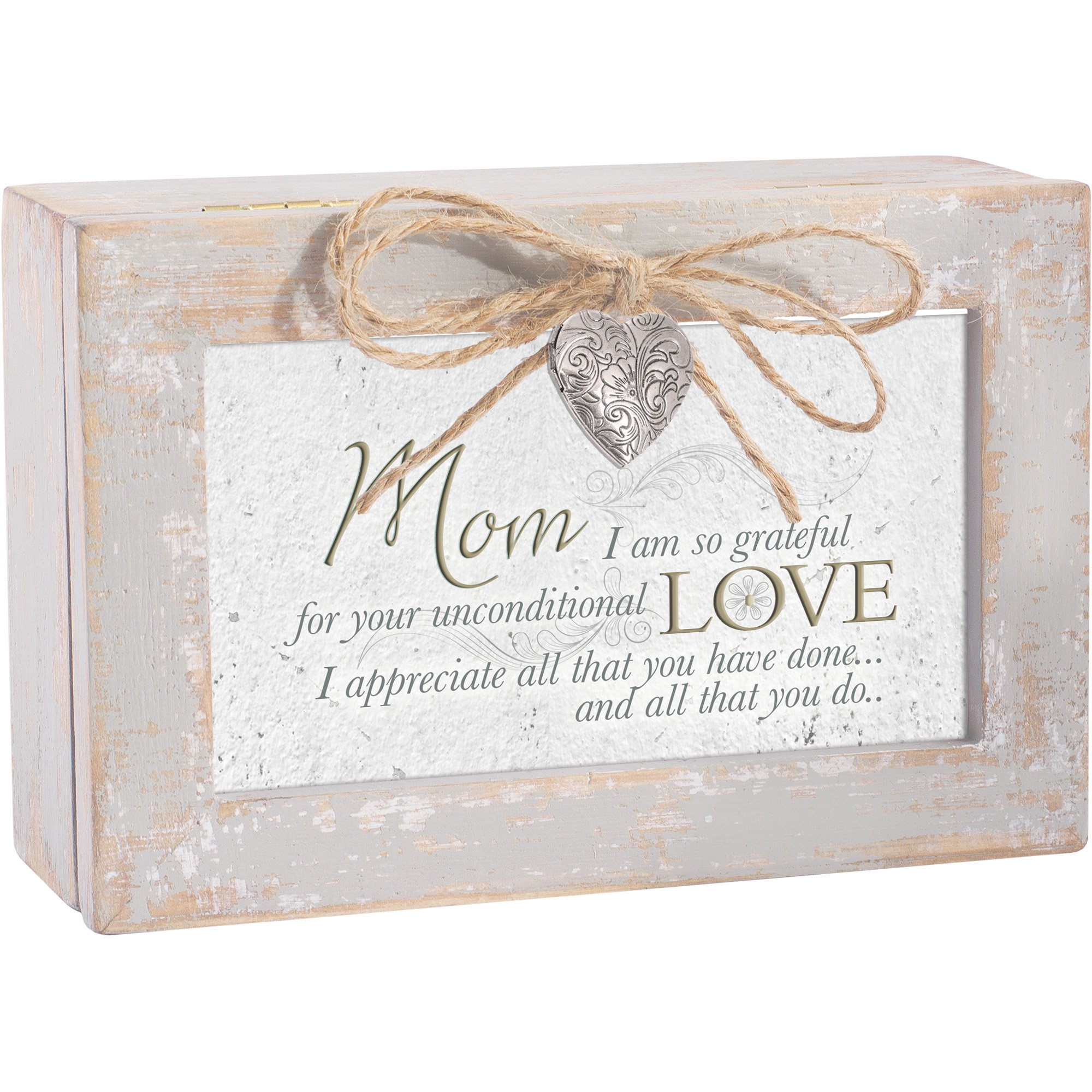 Mom Grateful for Love Distressed Wood Locket Jewelry Music Box Plays Tune Wind Beneath My Wings by Cottage Garden (Image #2)