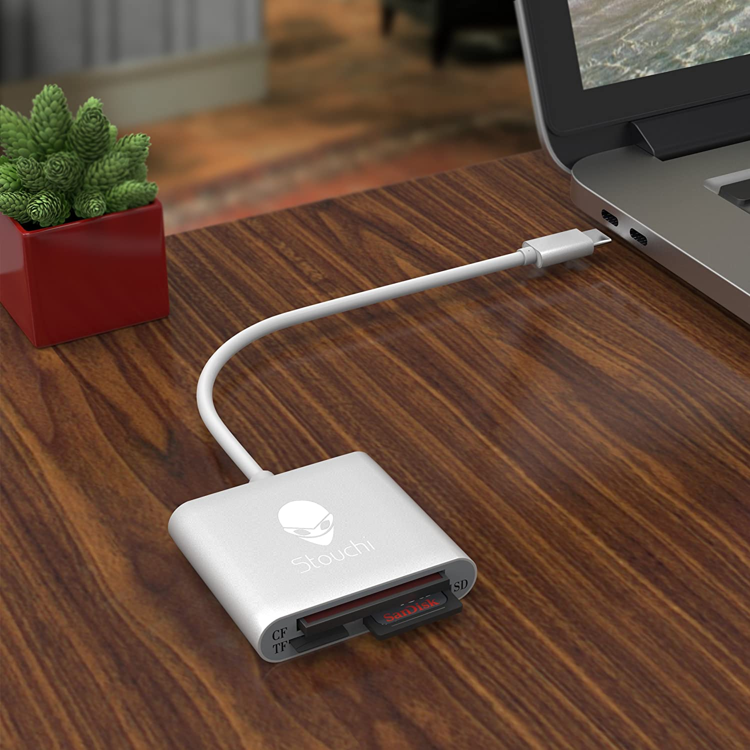 ChromeBook Pixel and Other USB C Devices CF Card Reader Stouchi USB C to CF Card Reader 3 in 1 USB 3.1Type C 5 Gbps Data Transfer Rate to SD//TF Micro SD//CF Card Reader for MacBook Pro