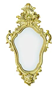 Old Craftman Designer Vintage Antique Wall Mirror (37.5 cm x 7.3 cm x 64 cm, Gold)