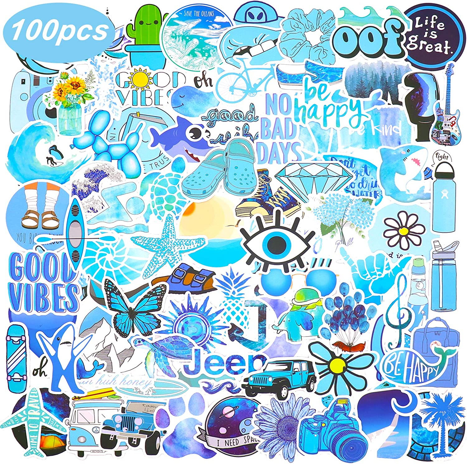 JOINBO 100 VSCO Blue Stickers Stylish Cute Waterproof Vsco Stickers are Essential Materials for Becoming a Vsco Girl, Suitable for Tablets, Skateboards, Mobile Phones, Kettles, suitcases, Outdoor