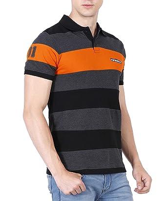 fanideaz Men\u0027s Striped Regular Fit Polo (FMPS0002OR_S_Orange-Black-Charcoal)