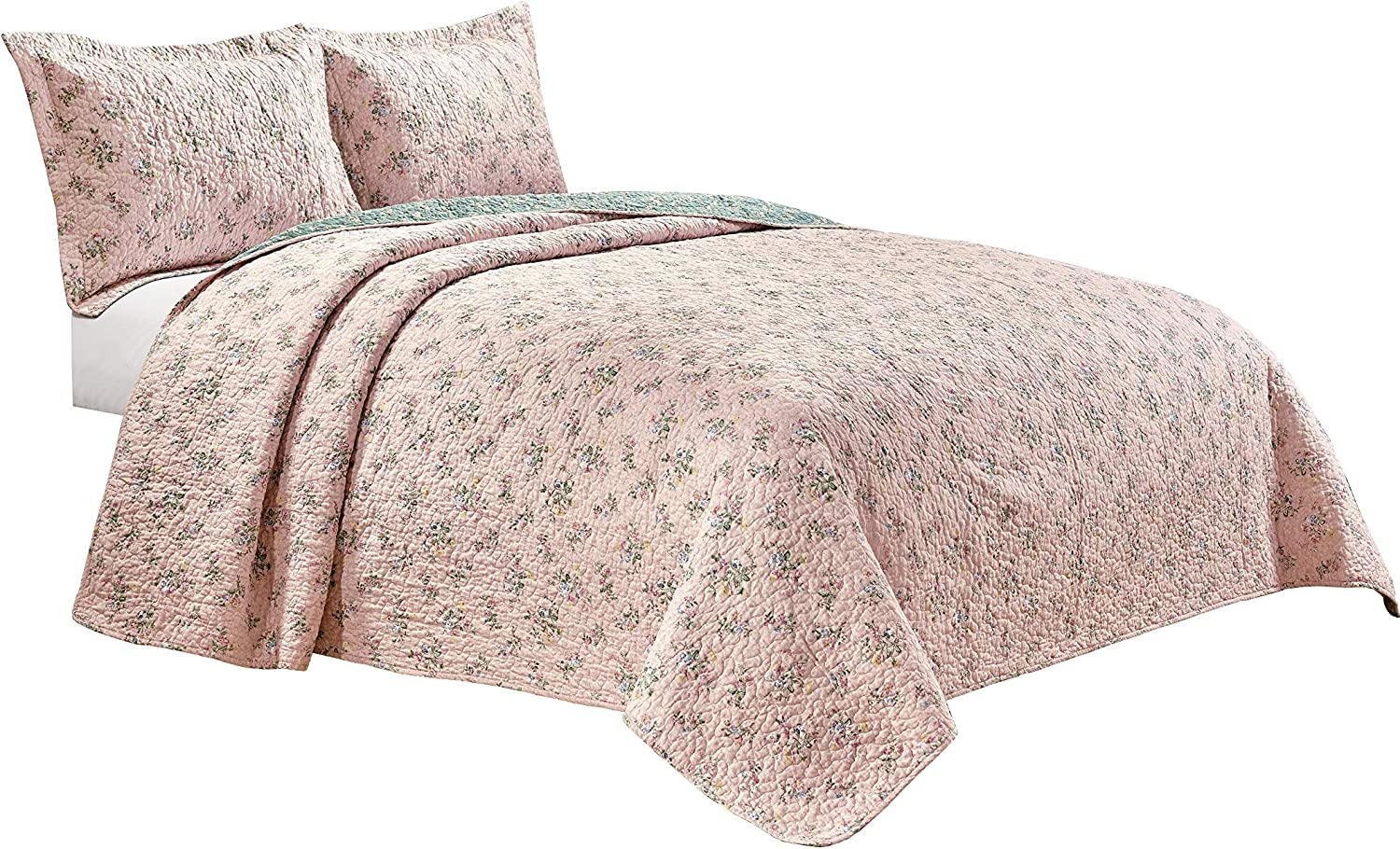 Chezmoi Collection 3PC Reversible Floral Garden Vintage Washed 100%-Cotton Quilt Set (King)