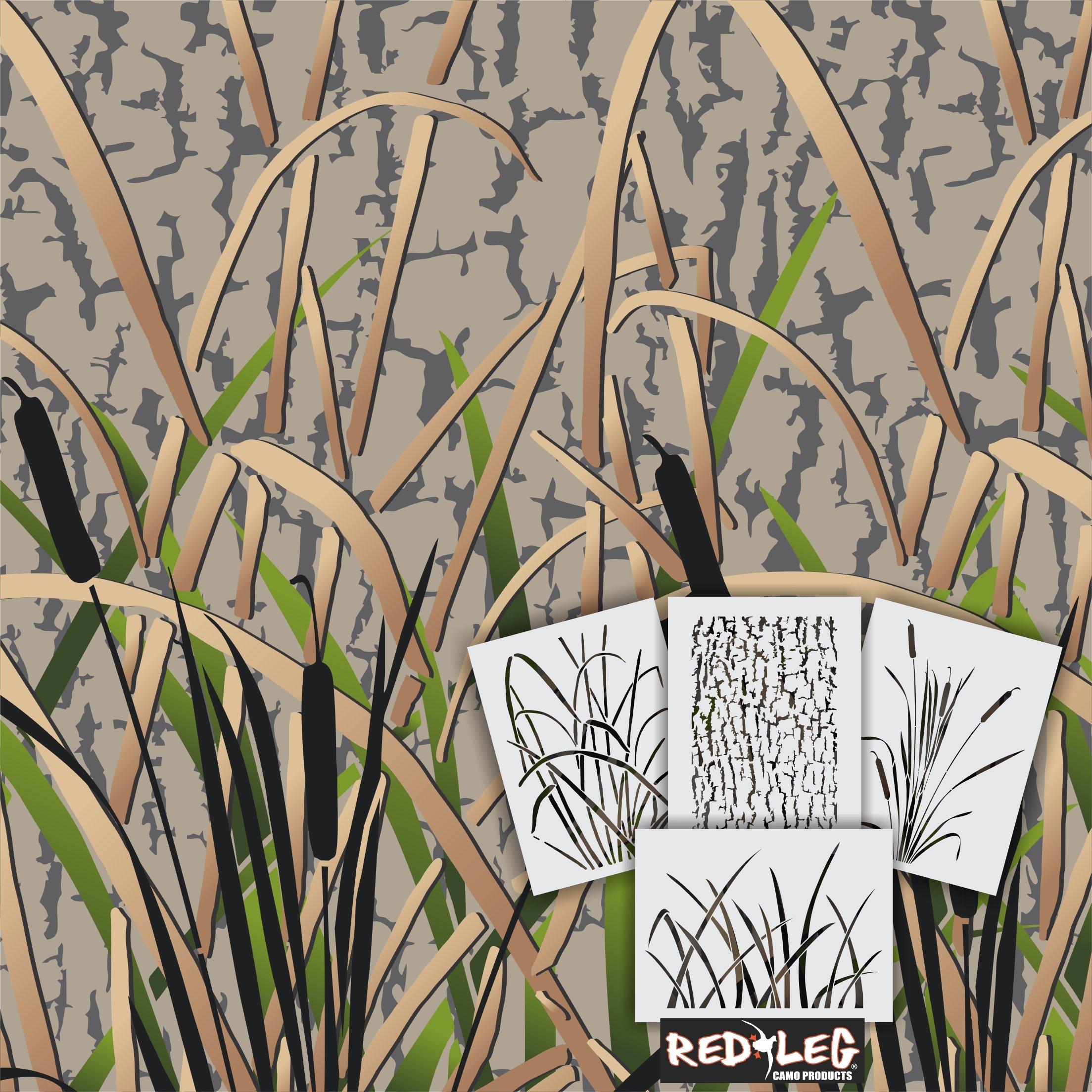 Redleg Camo GK4 4 Piece Grass Wetland Duck Camouflage Stencil kit 14'' X 11''