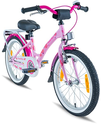 80e4308af02 PROMETHEUS Kids bike 18 inch Girls in pink purple   white with alloy  kickstand and carrier ...