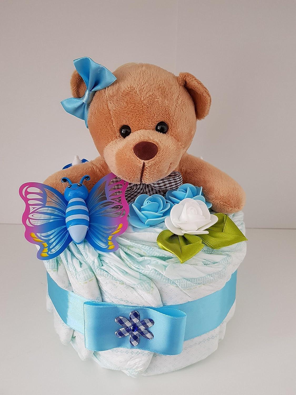 Geschenk zum Baby Party,Geburt Korb aus Windeln Windeltorte blau Pampers Gr.3