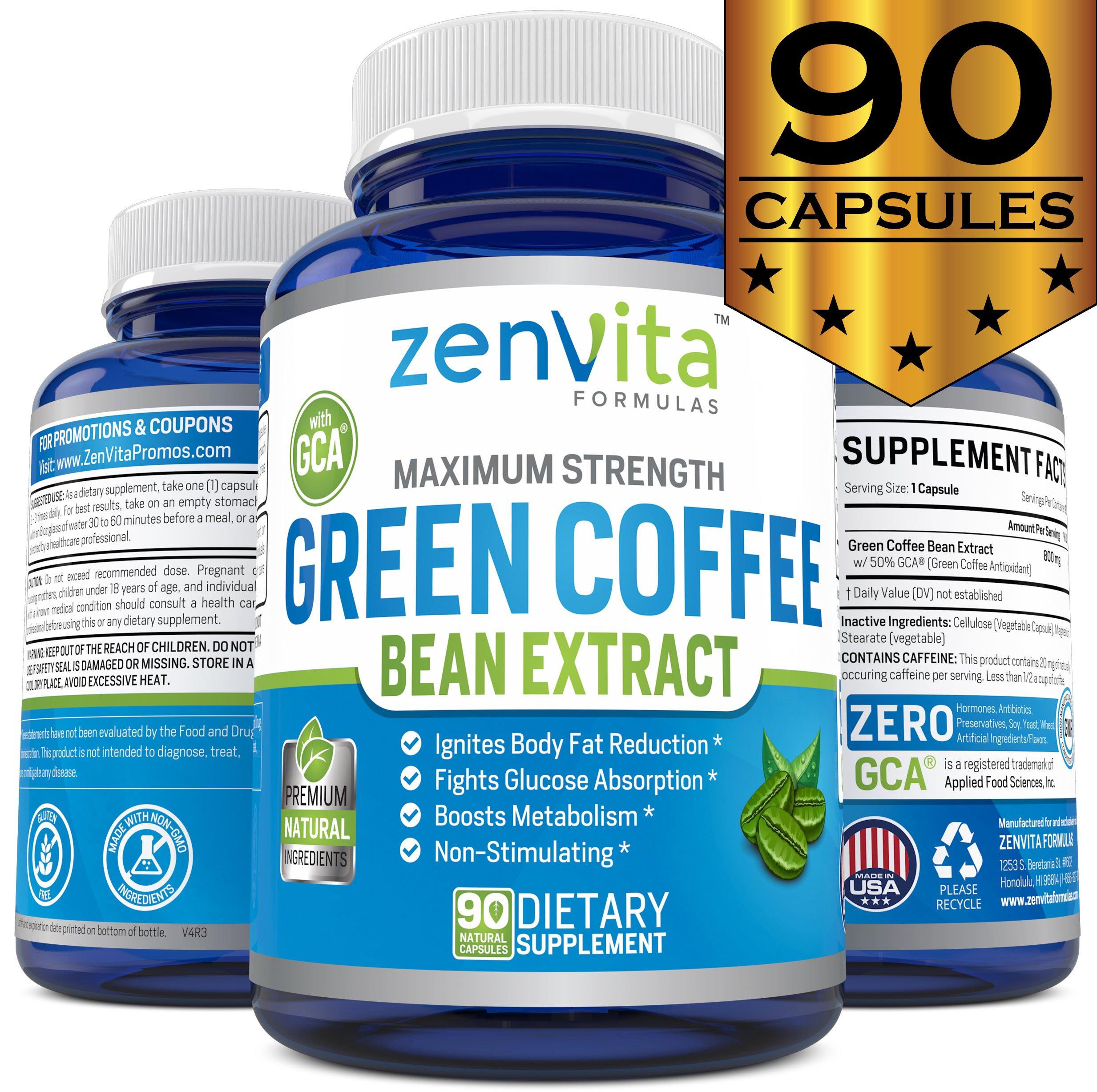 Pure Green Coffee Bean Extract - 90 Capsules, with GCA Green Coffee Antioxidant, Non-GMO & Gluten Free, Standardized 50% Chlorogenic Acid, Maximum Strength Green Coffee Bean Extract for Weight Loss by ZenVita Formulas