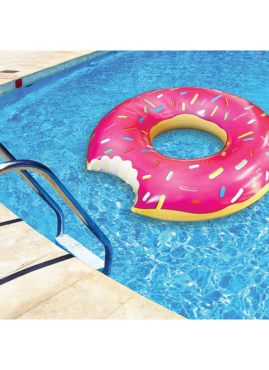 Amazon.com: BigMouth Inc Gigantic Donut Pool Float, Strawberry Frosted With  Sprinkles: Toys U0026 Games