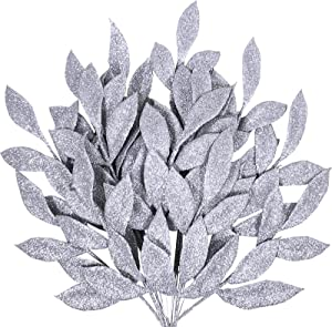 "20 Pieces Artificial Silver Glitter Leaf Spray Leaf Picks 13"" Tall for Chritsmas Winter Wedding Wreath Tree Swag Floral Arrangment Vase Bouquets Table Centerpieces Decoration"