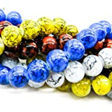 Pretty Pebbles Beads - 100 Painted Glass Beads Marble Effect Multi Colour Mix 8mm by Pretty Pebbles Beads