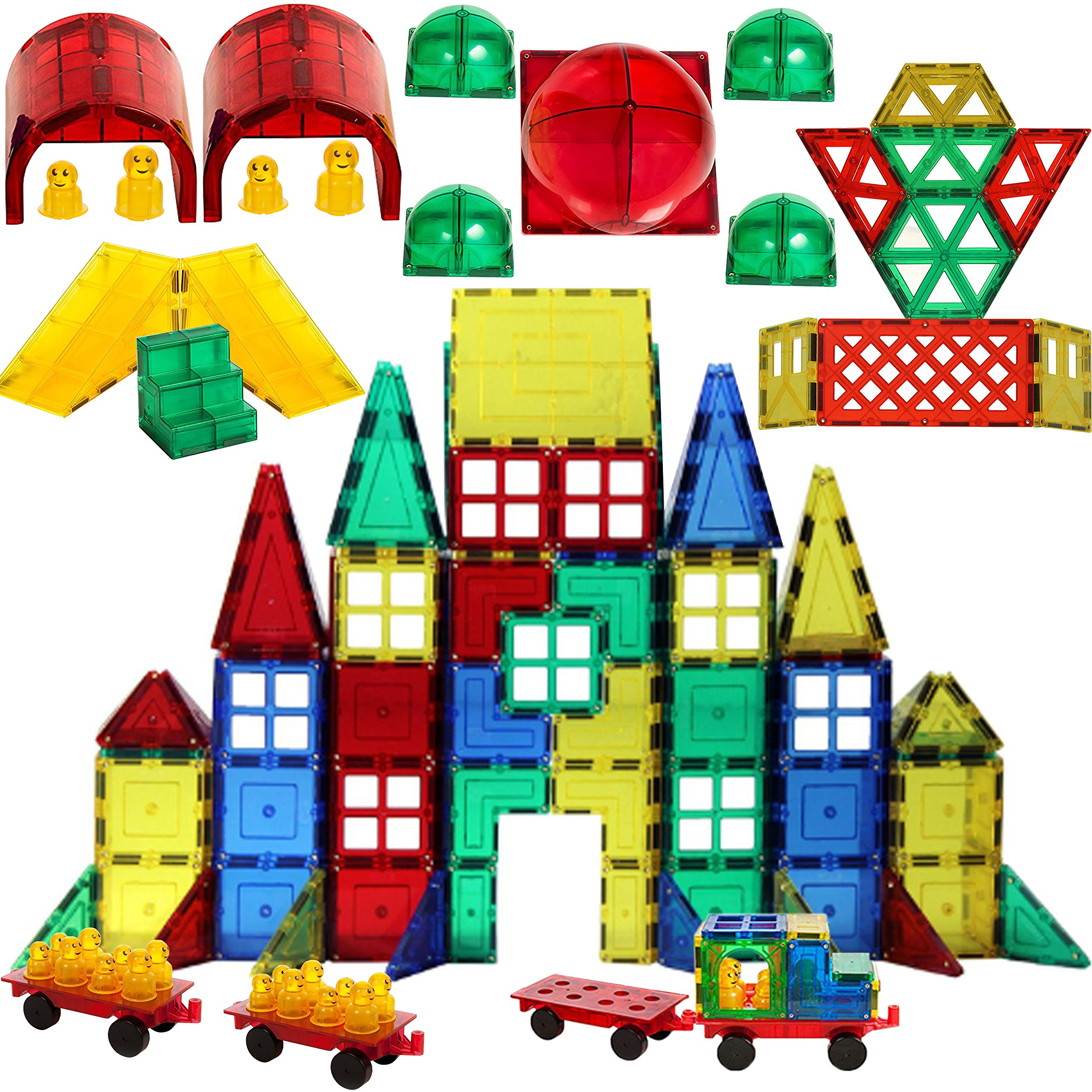 Award Winning Magnetic Stick N Stack 300 pcs MASTER BUILDER set. includes 23 different shapes Door, Windows, Frames, Gates, Arches, Figures,Wheels, And much more