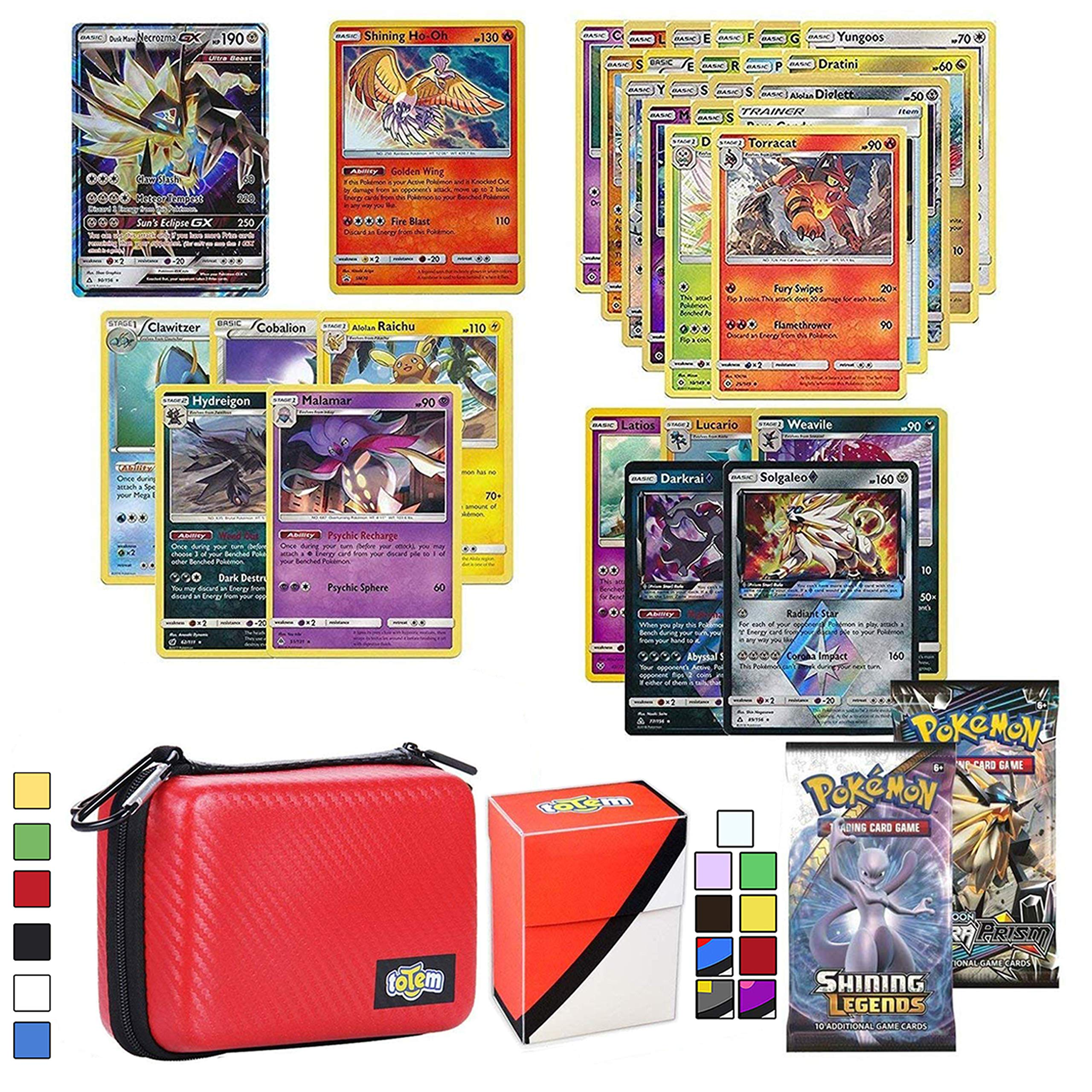 Totem World Pokemon Cards GX Lot with Card Carrying Case, 1 Pokemon GX Card Guaranteed, Plus 1 Pokemon Card Case, 2 Booster Pack, 5 Rares, 5 Holos, 20 Regular Pokemon Cards, and 1 Deck Box by Totem World
