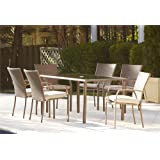 Cosco Outdoor 7 Piece Lakewood Ranch Steel Woven Wicker Patio Dining Set with Cushions, Brown