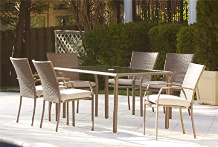 Cosco Outdoor Dining Set, 7 Piece, Amber Wicker, Tan Cushions