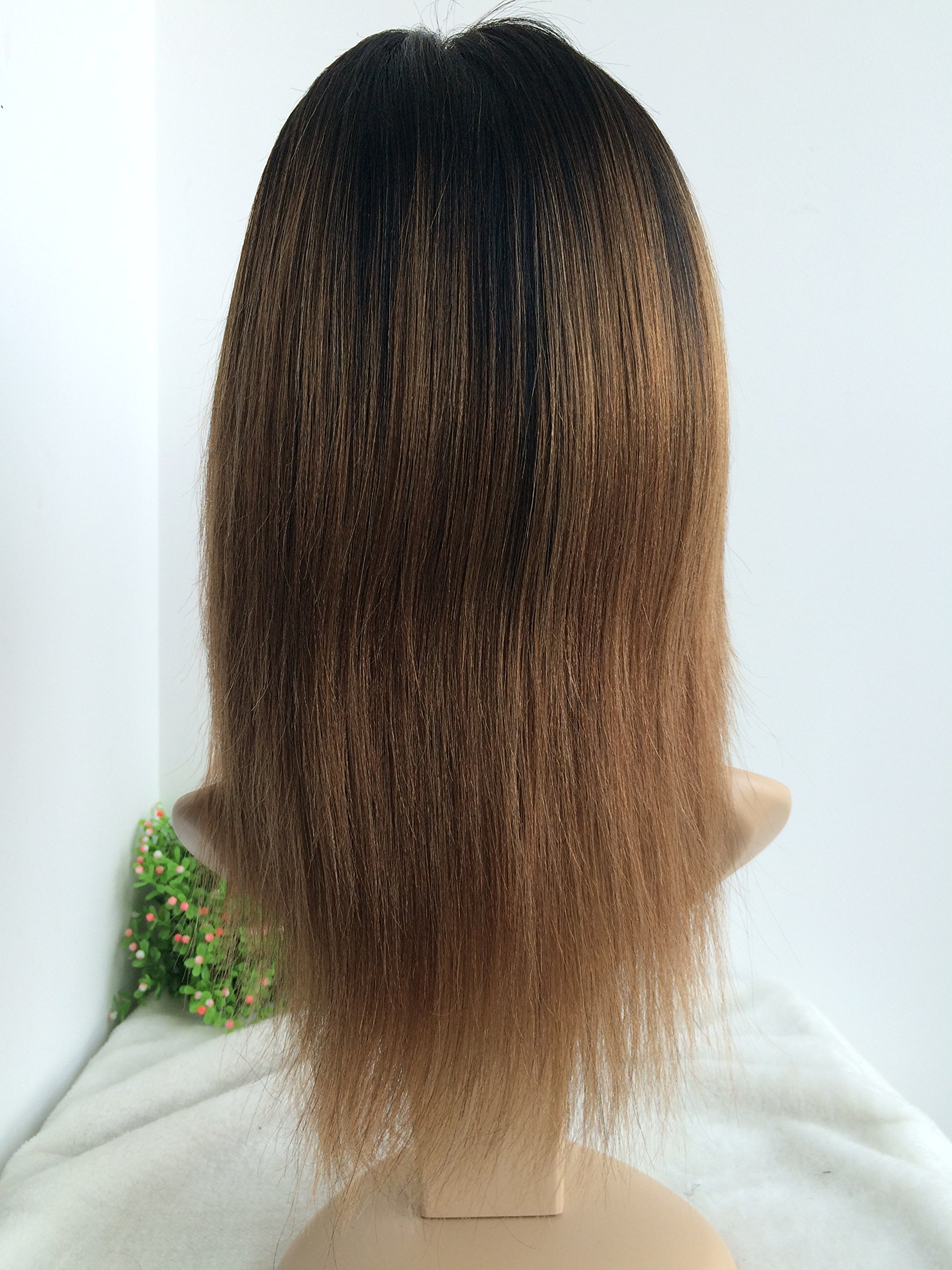 CHINESE VIRGIN 10 INCH,LIGHT YAKI,FULL LACE WIGS SILK TOP,BLEACHED KNOTS--hot sale product!!! by April silk top wigs (Image #3)