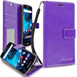 Droid Maxx 2 Wallet, PROWORX Premium Luxury PU Leather Wallet Flip Protective Case Cover with Card ID Slots & Stand Purple For Motorola Droid Maxx 2