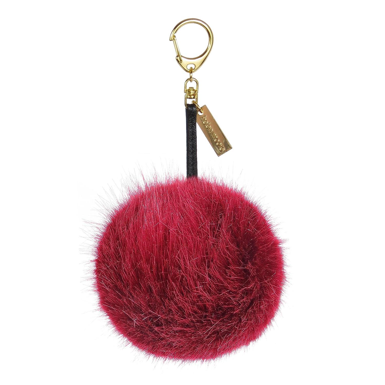 Fur Pop Pom Key Ring Fluffy Key Chain Bag Charm Interchangeable with Hat Bobble