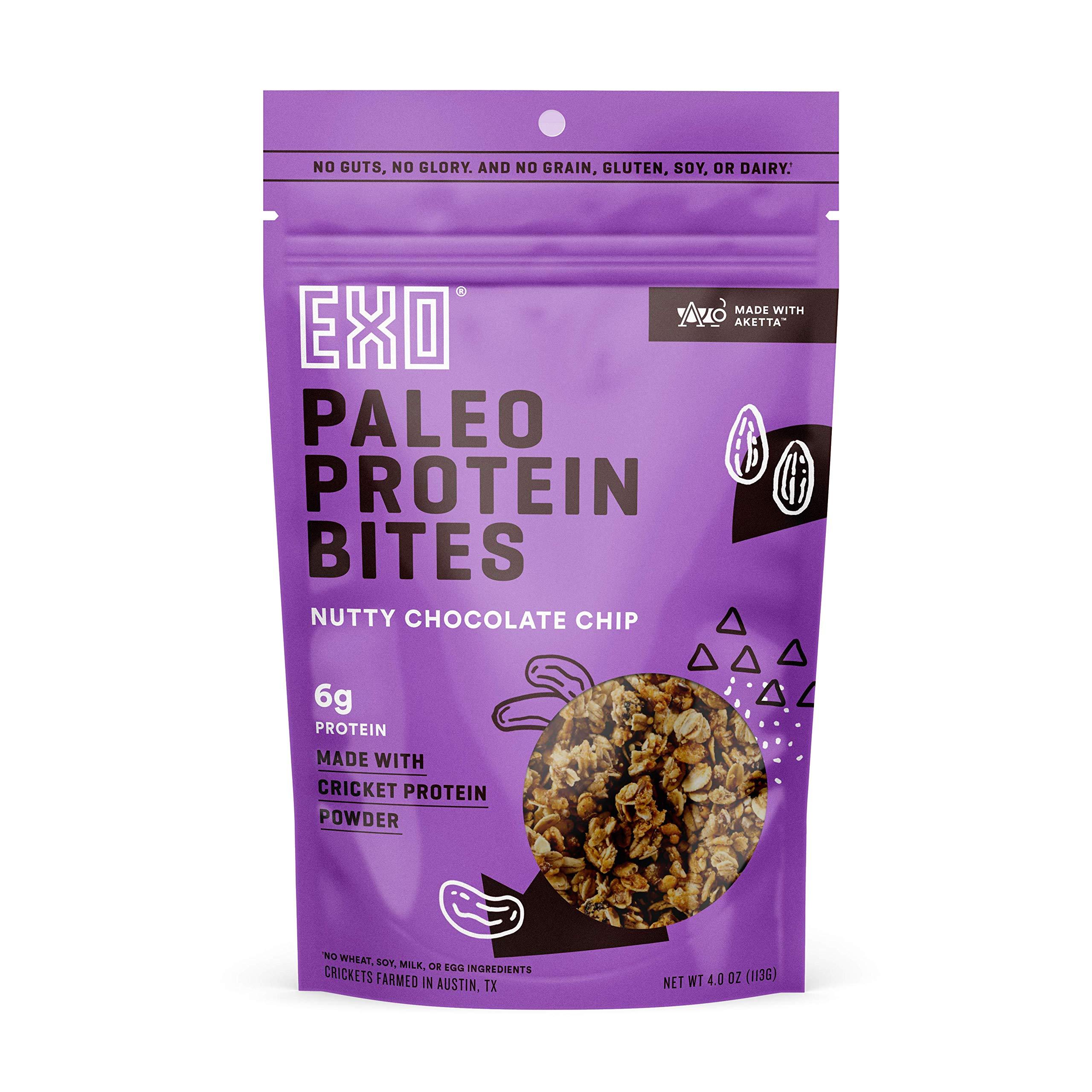 Exo Cricket 6g Protein Bites, Paleo Friendly, Gluten Free, Nutty Chocolate Chip, 3 Count
