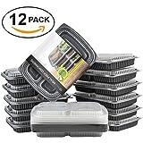 Matana boîtes de repas 100% anti-fuites, plateau à 3compartiments, boîtes / rangement de repas empilable avec couvercle sécurisé–convient au congélateur, lave-vaisselle et micro-ondes, Lot de 12