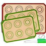 Silicone Baking Mat Set of 3 - Bundle | 1 Half Sheet & 2 Quarter Sheets | Reusable Baking Mats Silicone | Professional Non Stick Cookie & Macaron Liners | Baking Mat Non Stick | Q1&Q2 (Beige)
