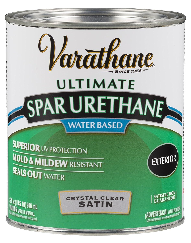 Rust Oleum Varathane 250241H 1 Quart Classic Clear Water Based Outdoor Spar  Urethane, Satin Finish   Household Varnishes   Amazon.com