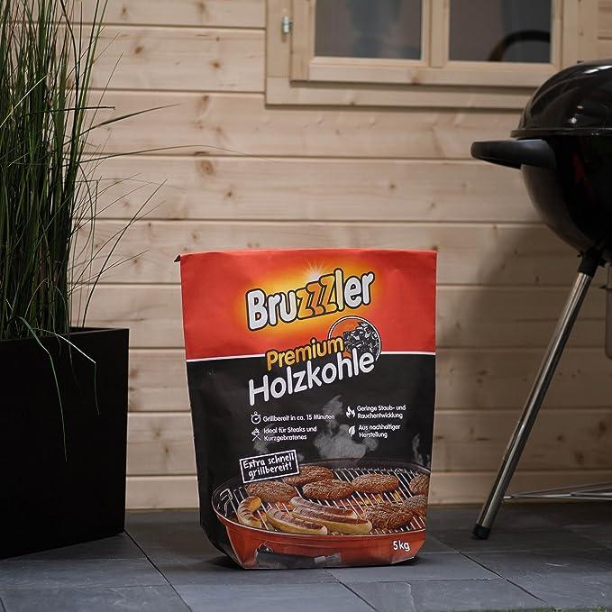 Bruzzzler – Briquetas de Carbón Vegetal para Barbacoa, 5 kg, Calidad Profesional, Piezas Grandes, con Certificado FSC, Carbón de Barbacoa de Alta Calidad: ...