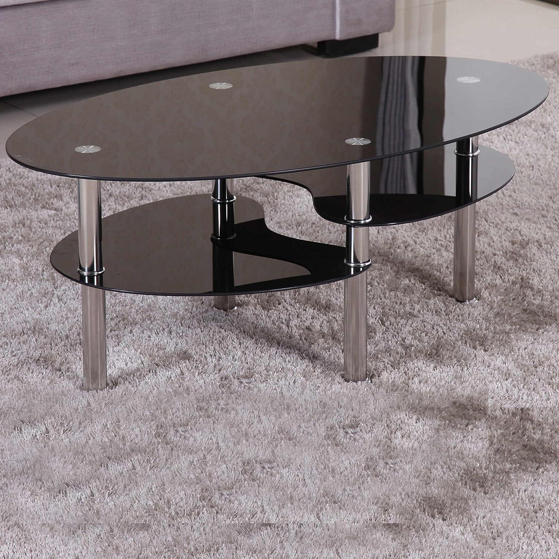 Erstaunlich Couchtisch Glas Chrom Gestell Ideen Von 98x58cm Schwarz Sicherheitsglas Beistelltisch Wohnzimmertisch Tisch Sofatisch