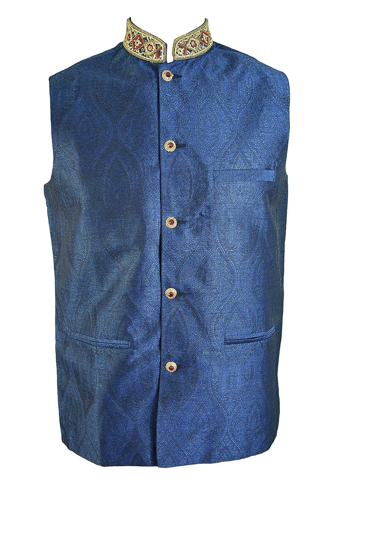 GUGGI Mens Stylish RED Jacquard Waistcoat Nehru Jacket Blazer JA2000