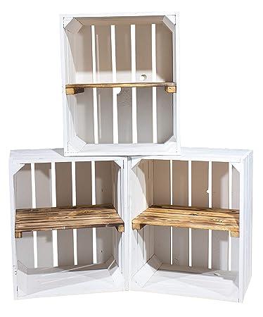 Vintage Möbel 24 GmbH Holzkisten-Weinkisten/Regal aus Obstkisten mit  Zwischenboden (3er Set - Weiße Regalkiste -quer- mit gefl. Brett)