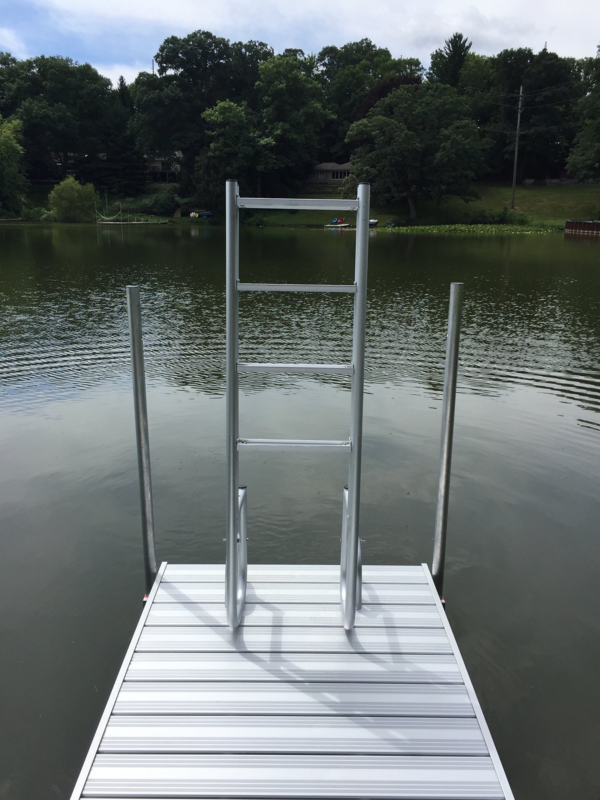 4 Step Heavy Duty Anodized Aluminum Swimming Pool Dock Ladder FLIP UP by Ortus Enterprises