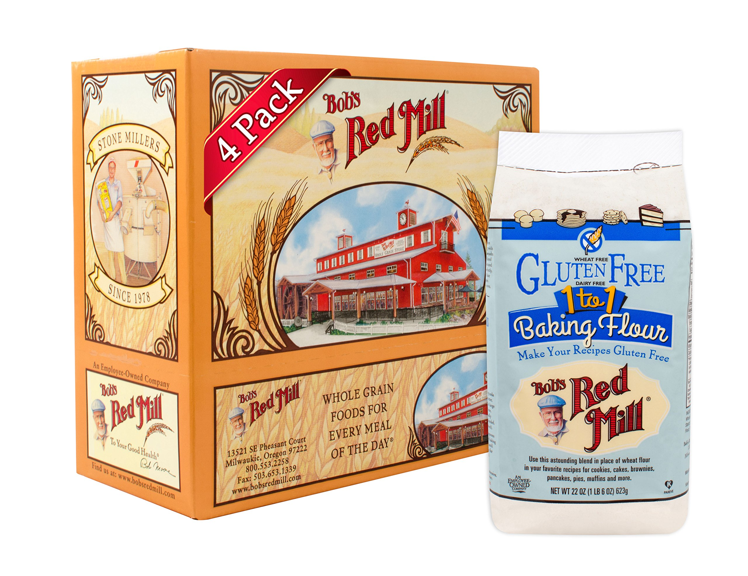 Bob's Red Mill Gluten Free 1-to-1 Baking Flour, 22 Ounce (Pack of 4) by Bob's Red Mill (Image #1)