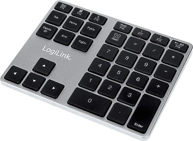 LogiLink ID0187 - Teclado numérico Bluetooth con 35 Teclas y Teclas de función para Windows/MacOS, Aluminio