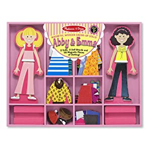 "Melissa & Doug Abby & Emma Magnetic Dress-Up Set, Wooden Dress-Up Dolls, Pretend Play, 2 Play Sets in One, 55+ Pieces, 1.25"" H x 11"" W x 14"" L"