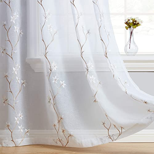 HLC.ME Emma Floral Blossom Embroidered Semi Sheer Voile See Through Light Filtering Window Curtain Drapery Grommet Top Panels for Bedroom Living Room 54 W x 96 L Inch Long, White Taupe