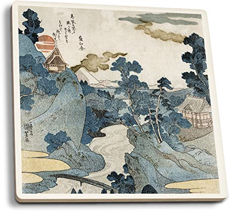 Amazon Com Lantern Press An Evening View Of Fuji Japanese Wood Cut Set Of 4 Ceramic Coasters Cork Backed Absorbent Posters Prints