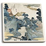 An Evening View of Fuji - Japanese Wood-Cut (Set of 4 Ceramic Coasters - Cork-backed, Absorbent)