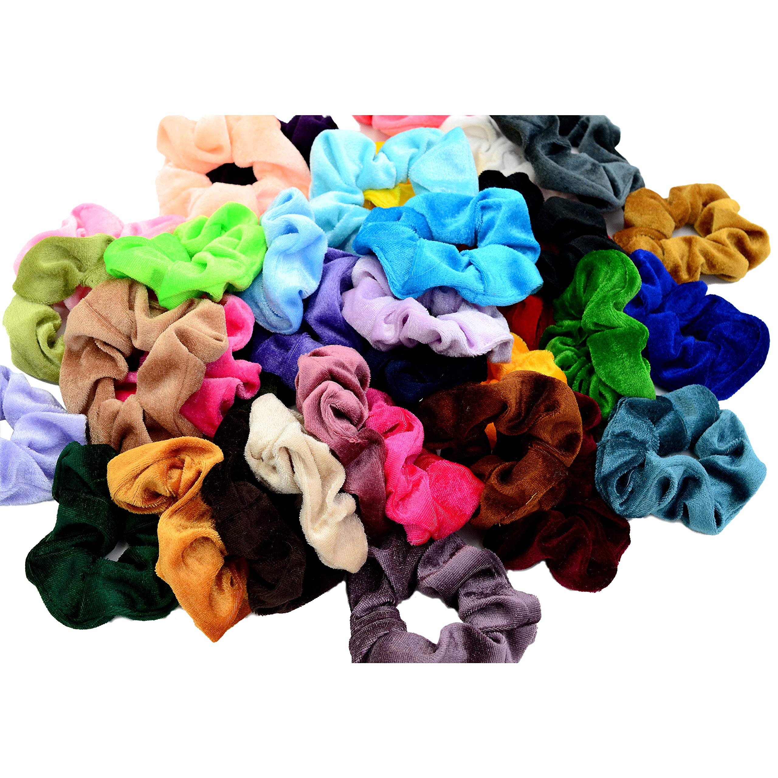 Chloven 45 Pcs Hair Scrunchies Velvet Elastics Bobbles Hair Bands Scrunchy Hair Ties Ropes Scrunchie for Women Girls Hair Accessories- 45 Assorted Colors Scrunchies by Chloven (Image #1)