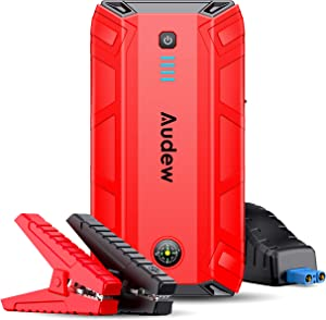 Audew Car Jump Starter,1500A Peak 17200mAh 12V Portable Jump Starter (Up to 8L Gas or 6L Diesel Engine),Auto Battery Booster with Smart Jumper Cable,Quick Charge 3.0,Type-C,LED Flashlight