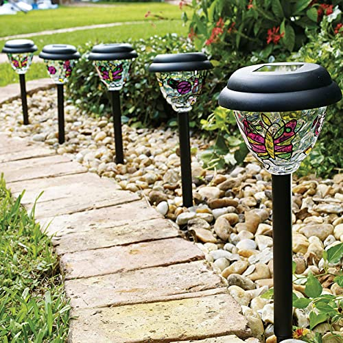 BrylaneHome Tiffany Style Solar Stake Lights, Set of 5 Path Light, Multi