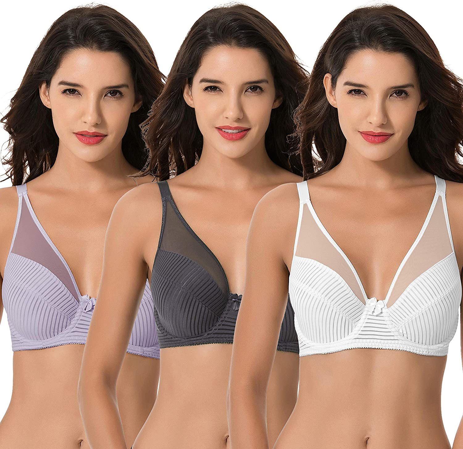 Curve Muse Women's Plus Size Minimizer Unlined Underwire Full Coverage Bra at  Women's Clothing store