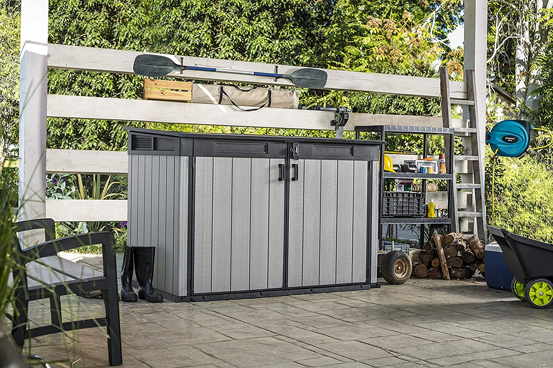 Keter - Cobertizo de jardín exterior Duotech Grande Store, Color gris