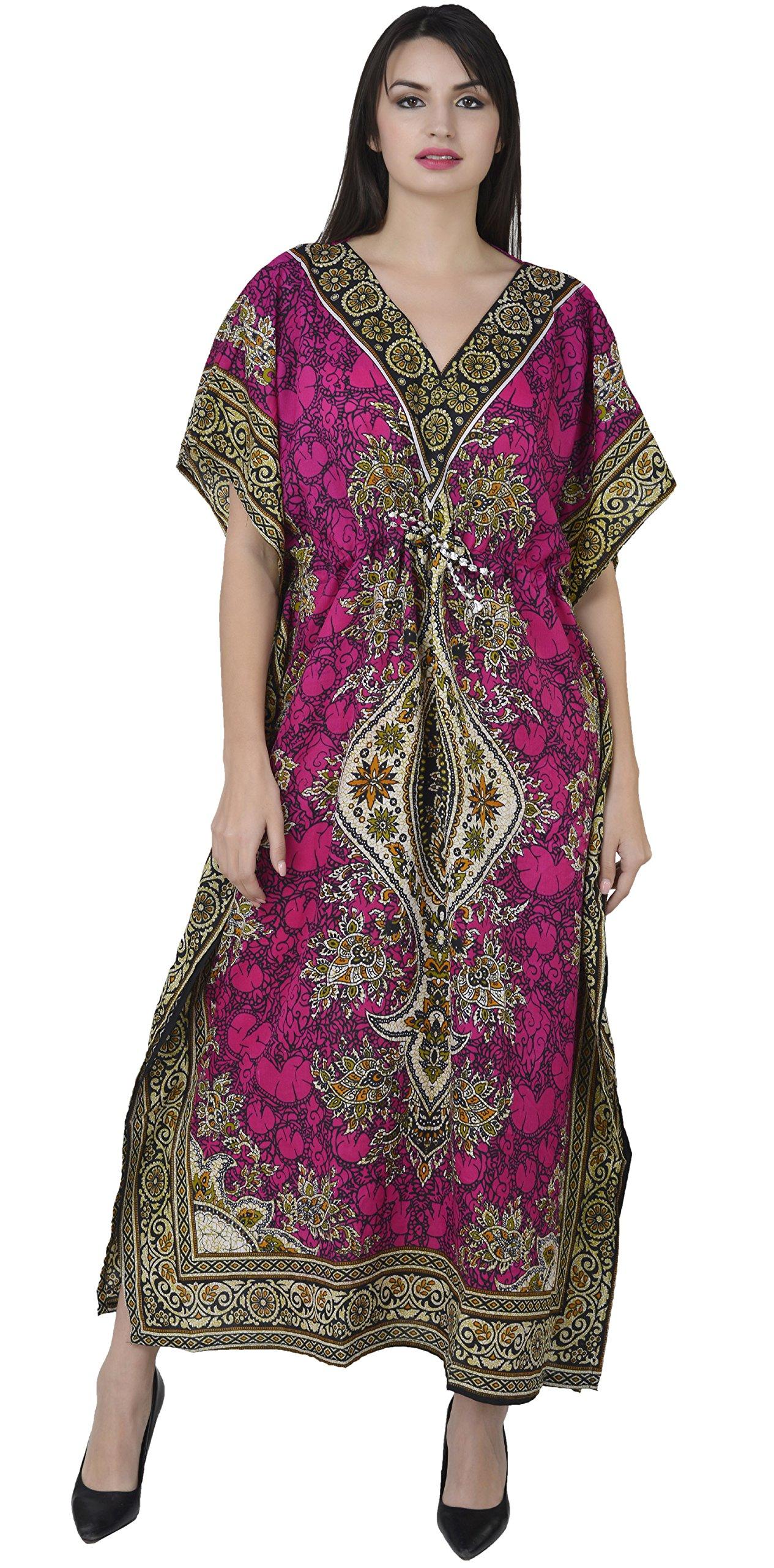 SKAVIJ Beach Dress Womens Designer Kaftan Night Wear Long Dashiki Kaftan Dress Pink