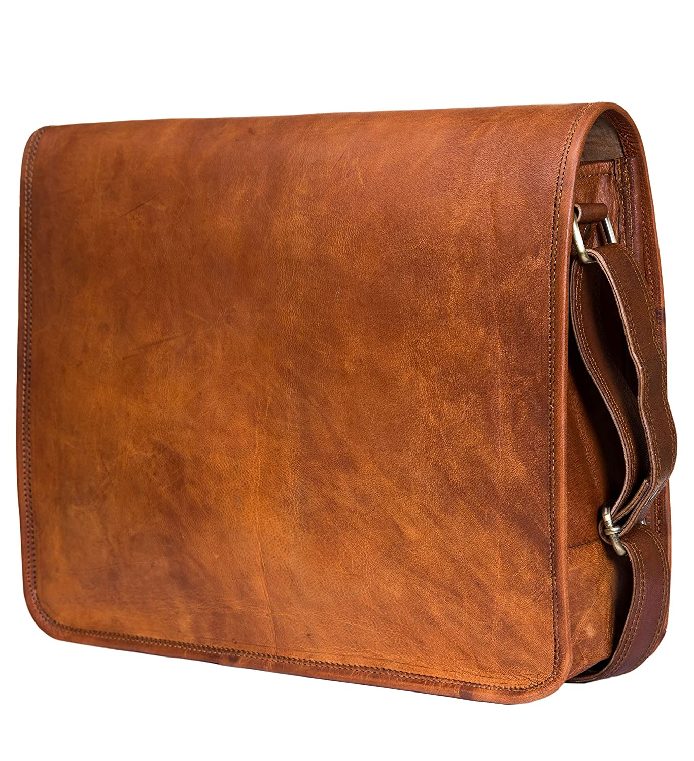 Urban Leather Handmade Over The Shoulder Laptop Bag for Men Women Boys Girls, with Shock Proof Padding, Medium Size 15 inch ULUFF16